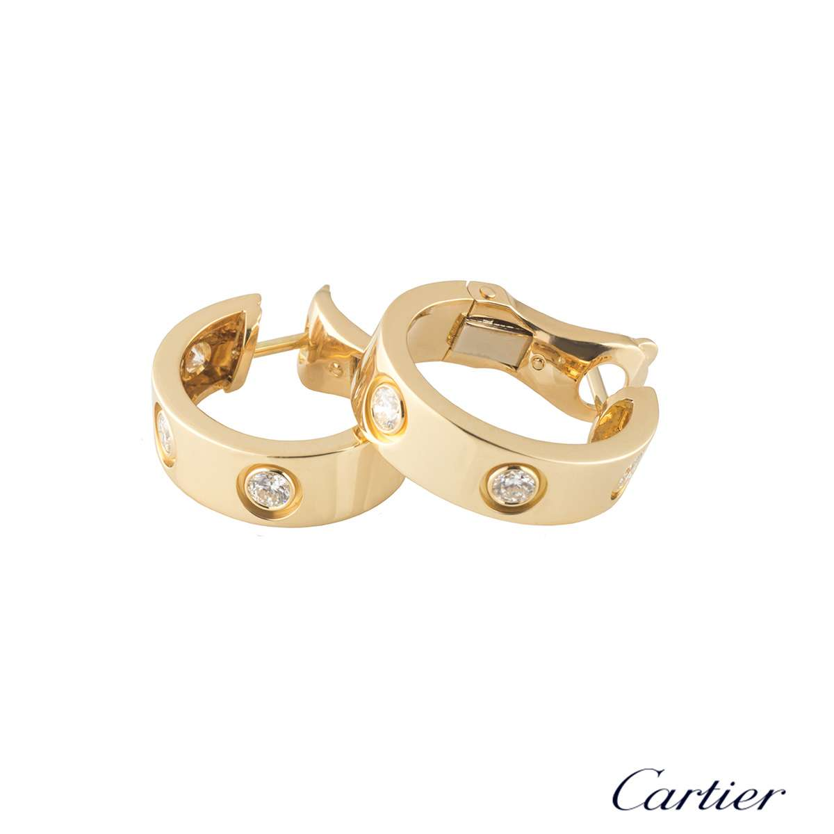 Cartier Yellow Gold Diamond Love Hoop Earrings